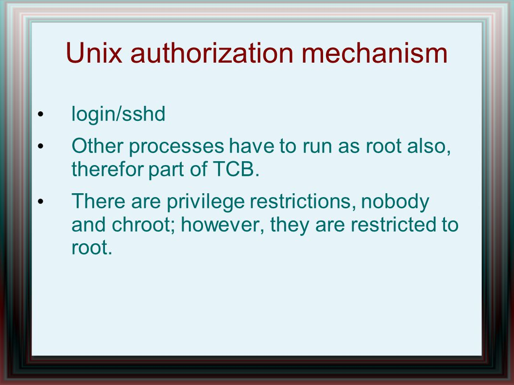 Unix authorization mechanism