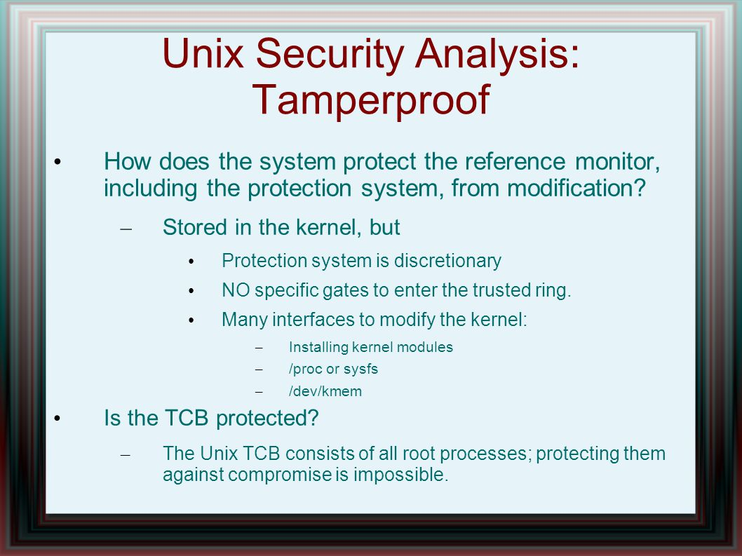 Unix Security Analysis: Tamperproof