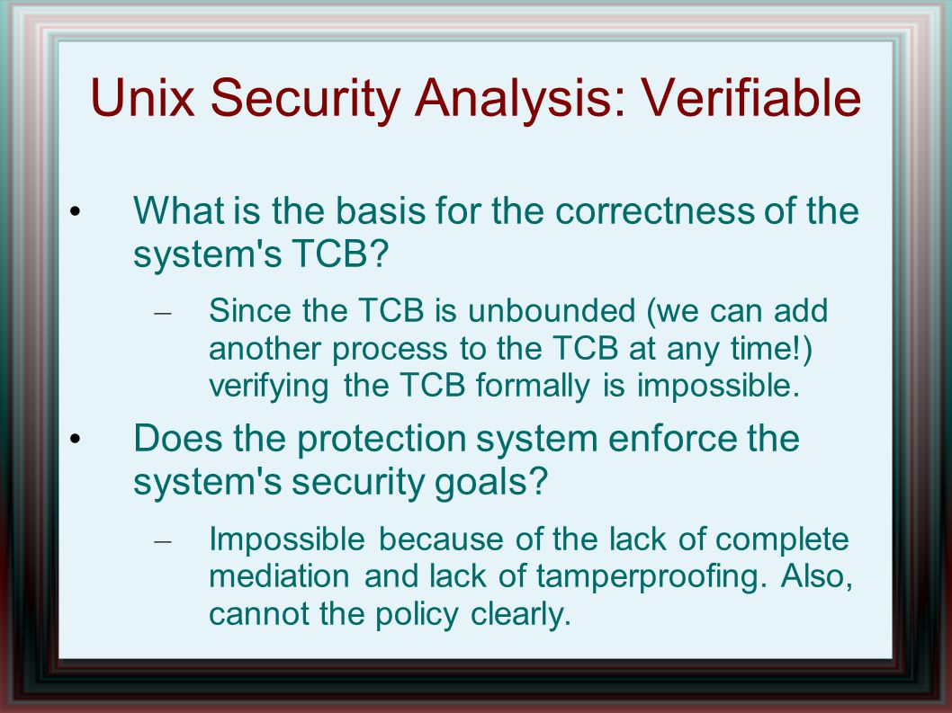 Unix Security Analysis: Verifiable