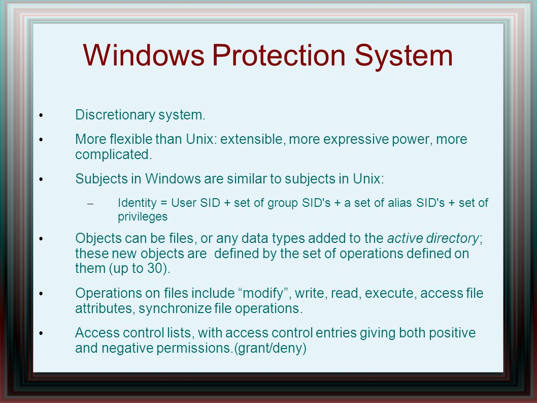 Windows Protection System