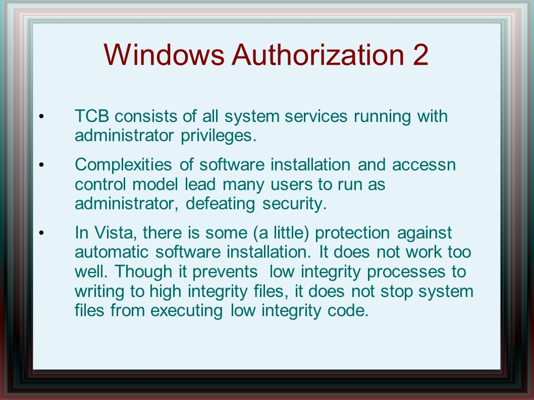 Windows Authorization 2