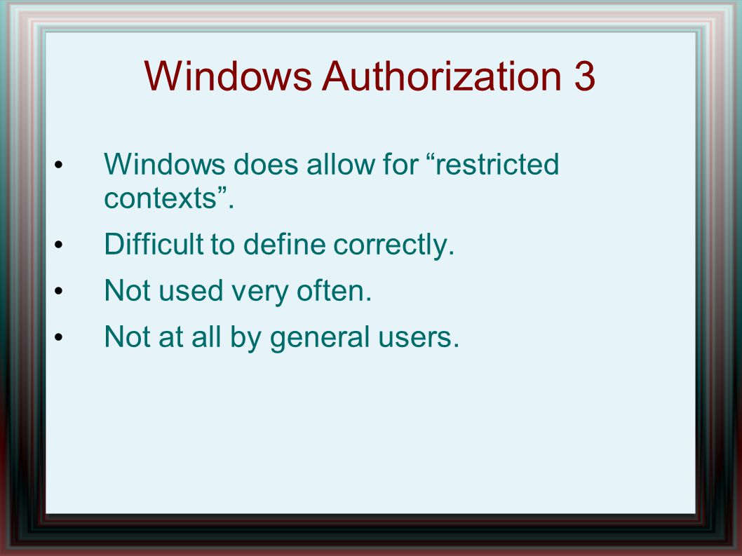 Windows Authorization 3