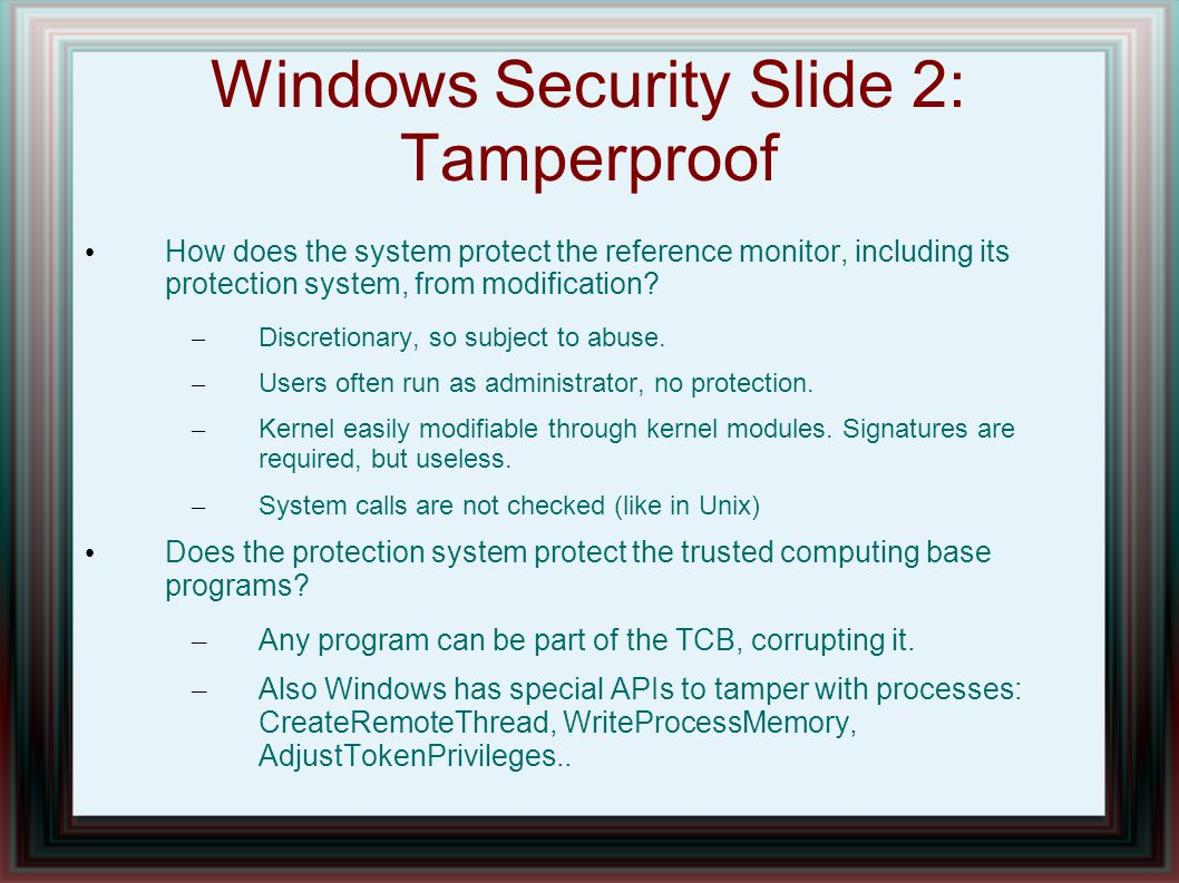 Windows Security Slide 2: Tamperproof