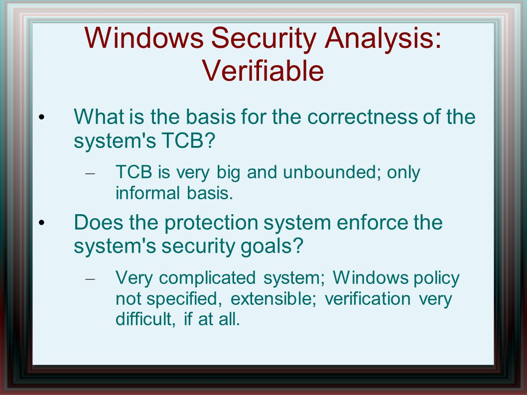 Windows Security Analysis: Verifiable