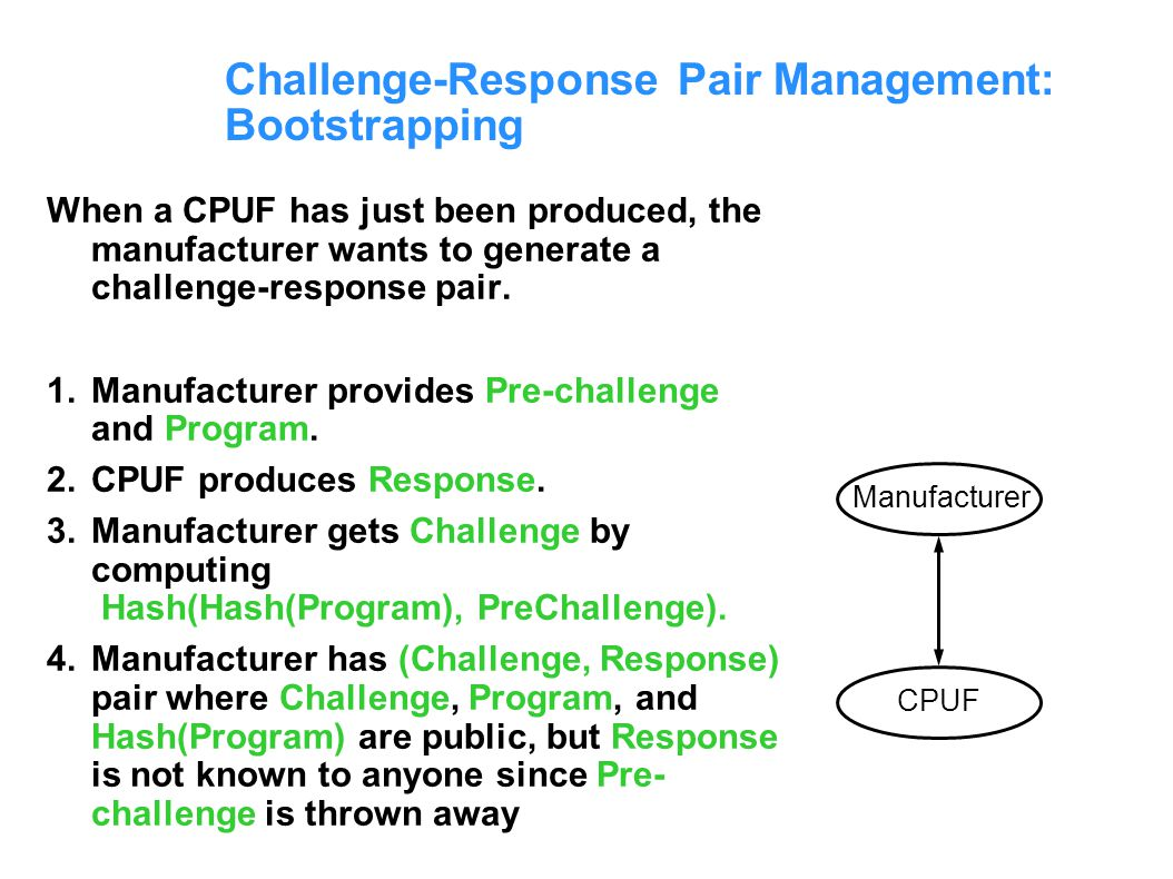 Challenge-Response Pair Management: Bootstrapping
