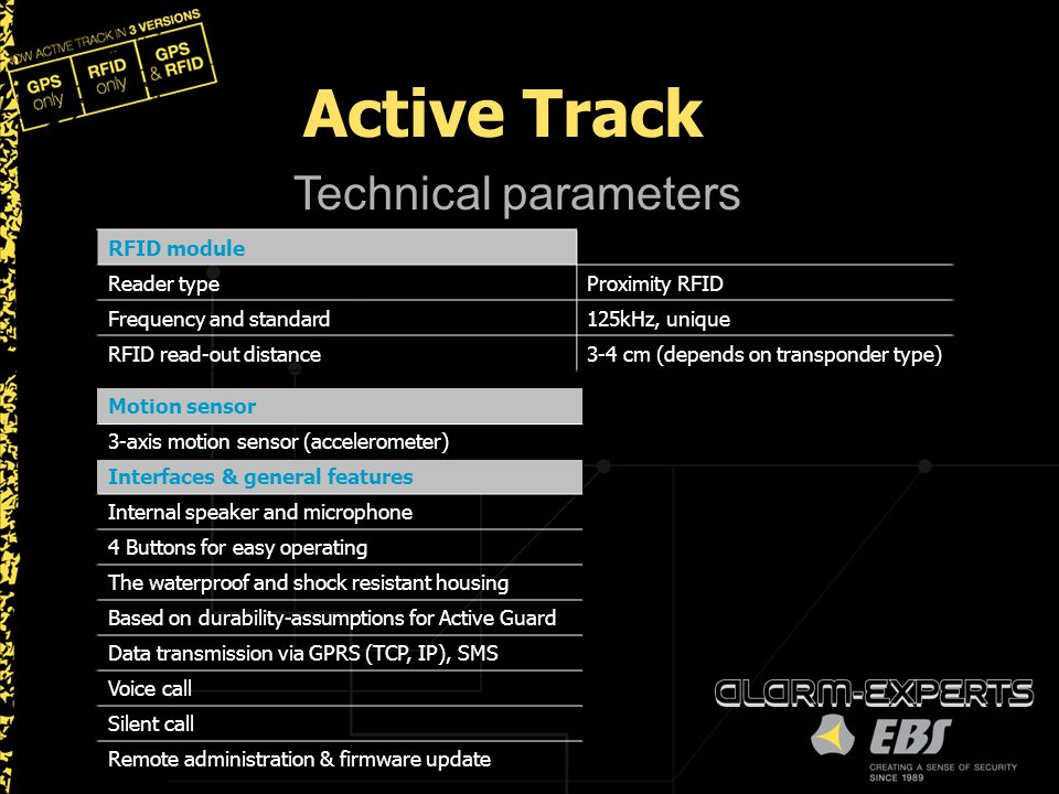 Active Track Technical parameters RFID module Reader type