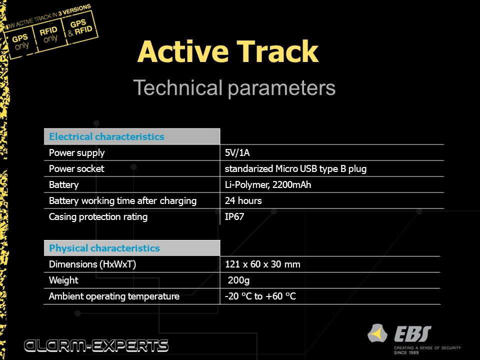 Active Track Technical parameters Electrical characteristics