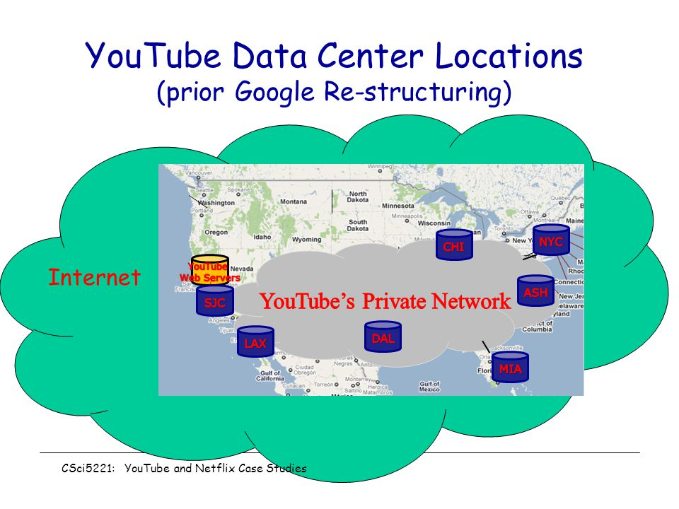 YouTube Data Center Locations (prior Google Re-structuring)
