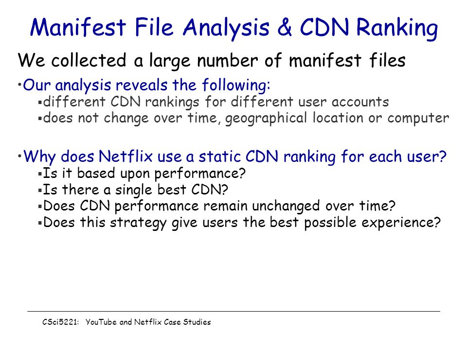 Manifest File Analysis & CDN Ranking