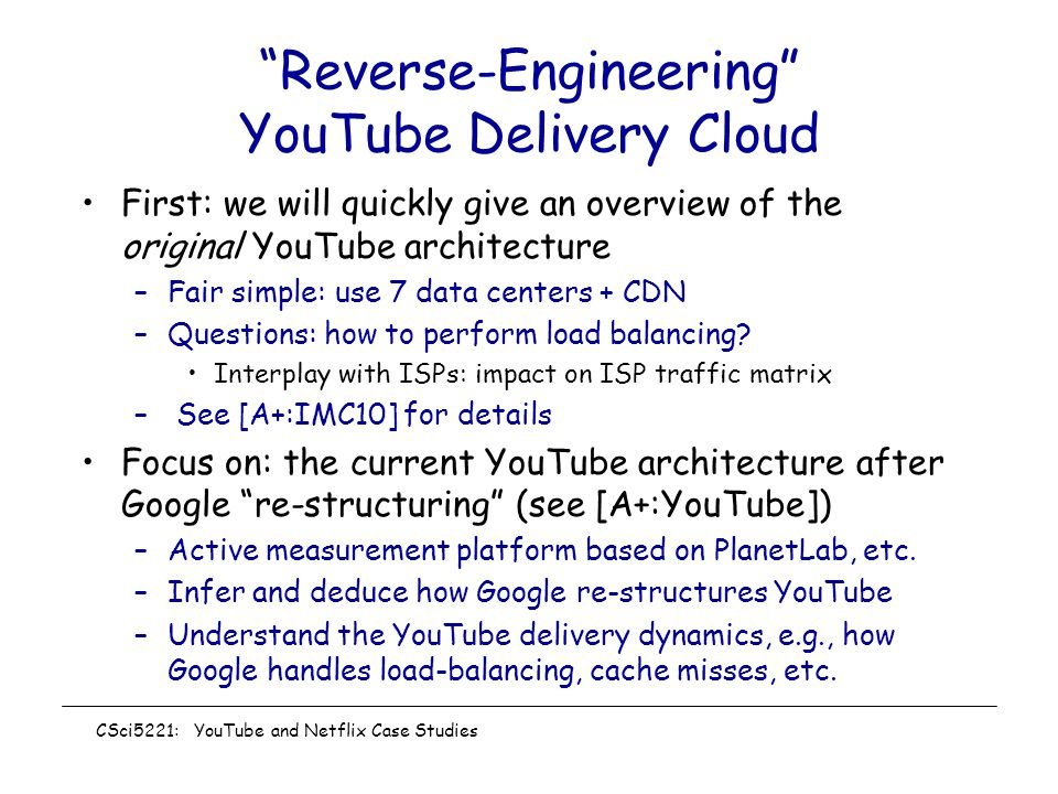 Reverse-Engineering YouTube Delivery Cloud