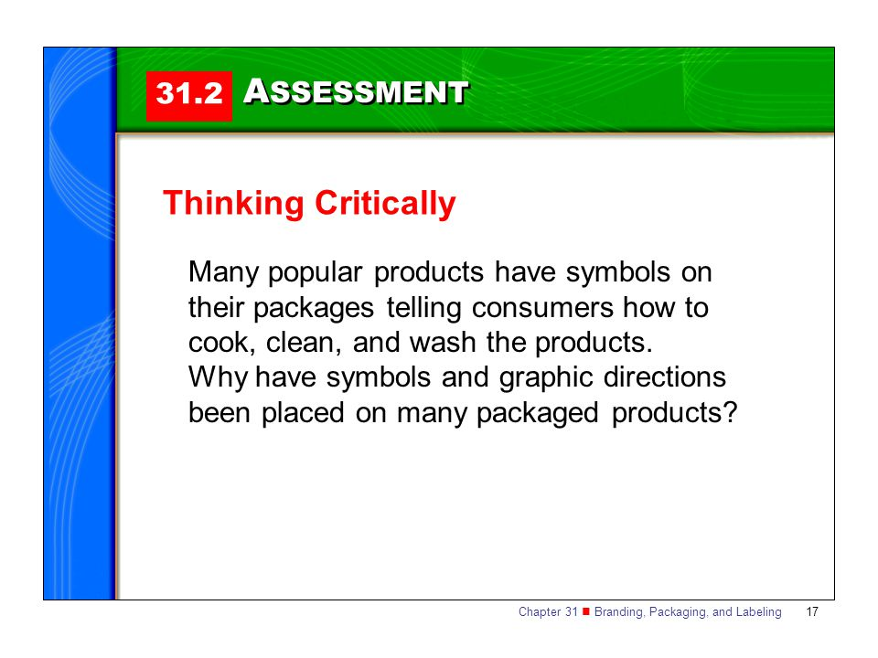 ASSESSMENT Thinking Critically 31.2