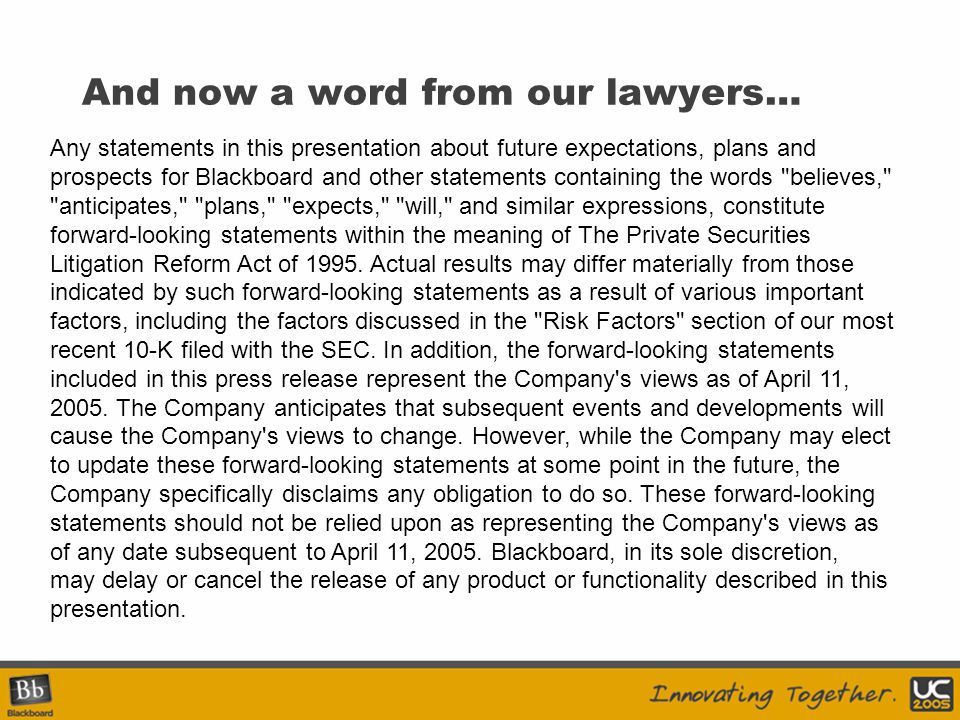 And now a word from our lawyers…