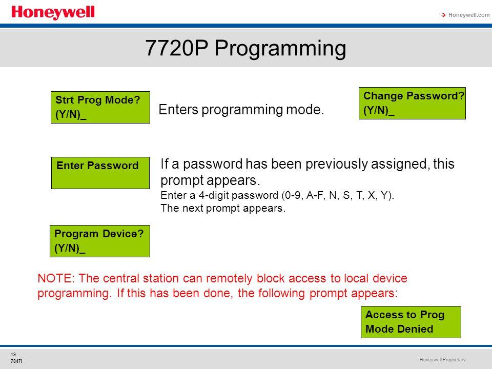 7720P Programming Enters programming mode.