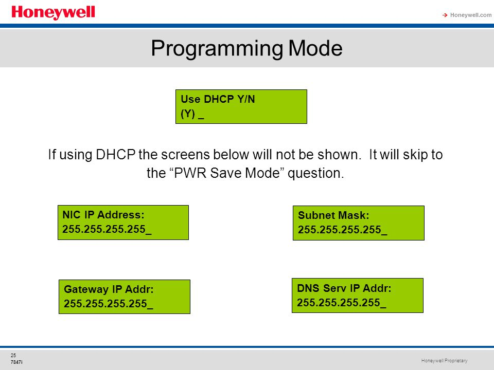Programming Mode Use DHCP Y/N. (Y) _. If using DHCP the screens below will not be shown. It will skip to the PWR Save Mode question.