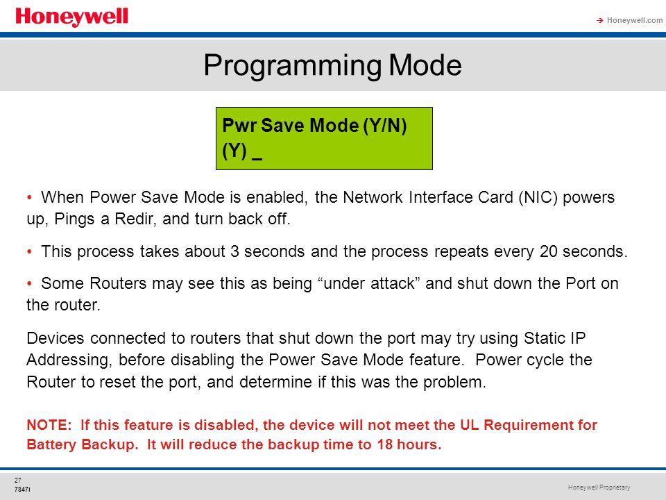 Programming Mode Pwr Save Mode (Y/N) (Y) _