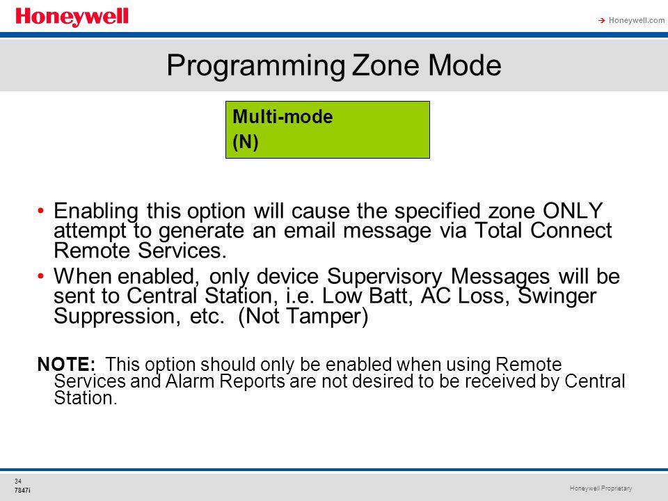 Programming Zone Mode Multi-mode. (N)