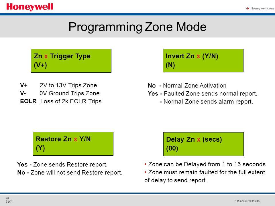 Programming Zone Mode Zn x Trigger Type (V+) Invert Zn x (Y/N) (N)