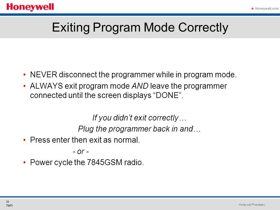 Exiting Program Mode Correctly