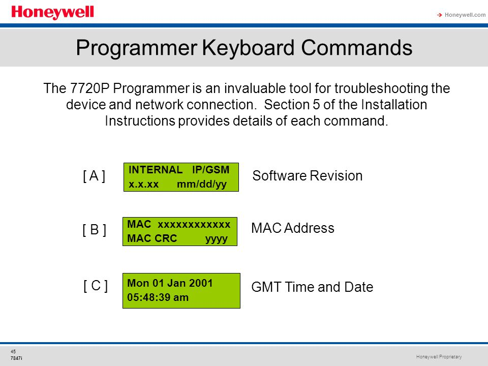 Programmer Keyboard Commands
