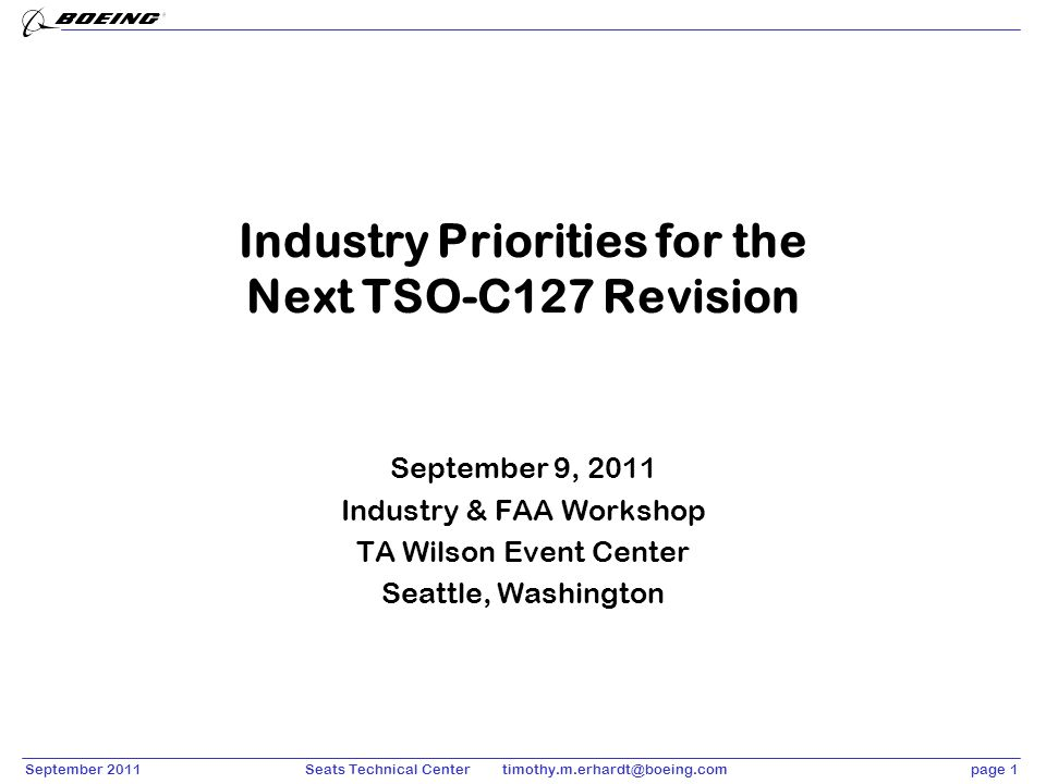 Industry Priorities for the Next TSO-C127 Revision
