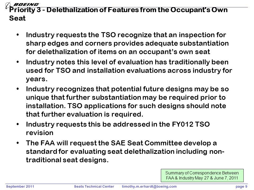 Priority 3 - Delethalization of Features from the Occupant s Own Seat