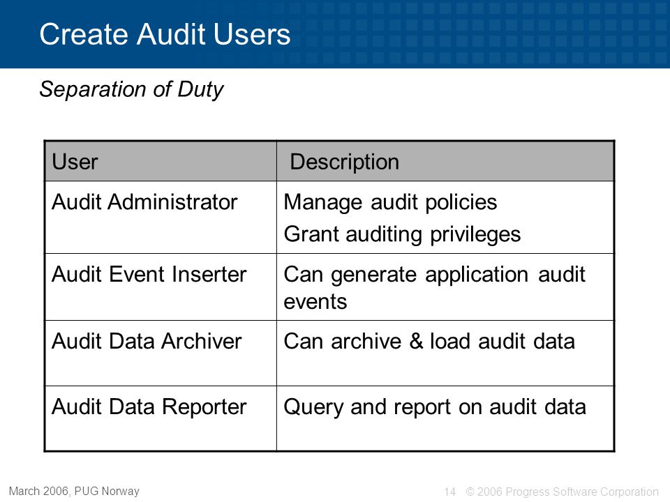 Create Audit Users Separation of Duty User Description