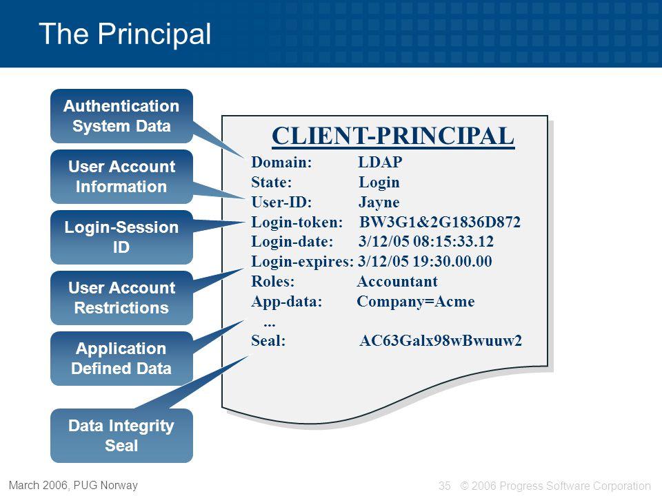 The Principal CLIENT-PRINCIPAL Authentication System Data