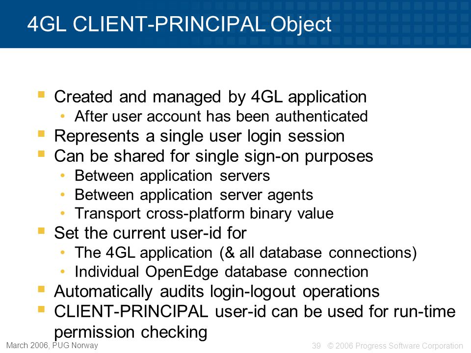 4GL CLIENT-PRINCIPAL Object