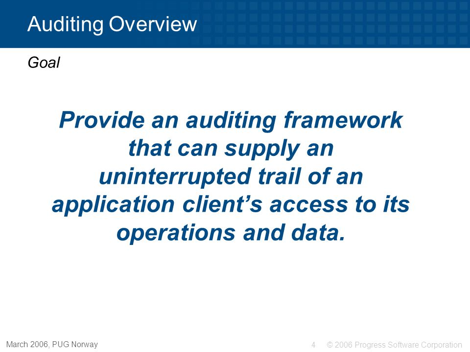 Auditing Overview Auditing in OpenEdge® Goal.