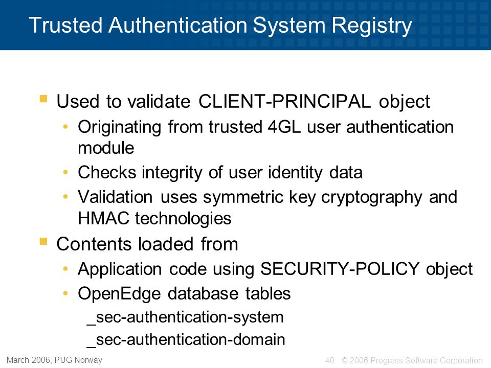 Trusted Authentication System Registry