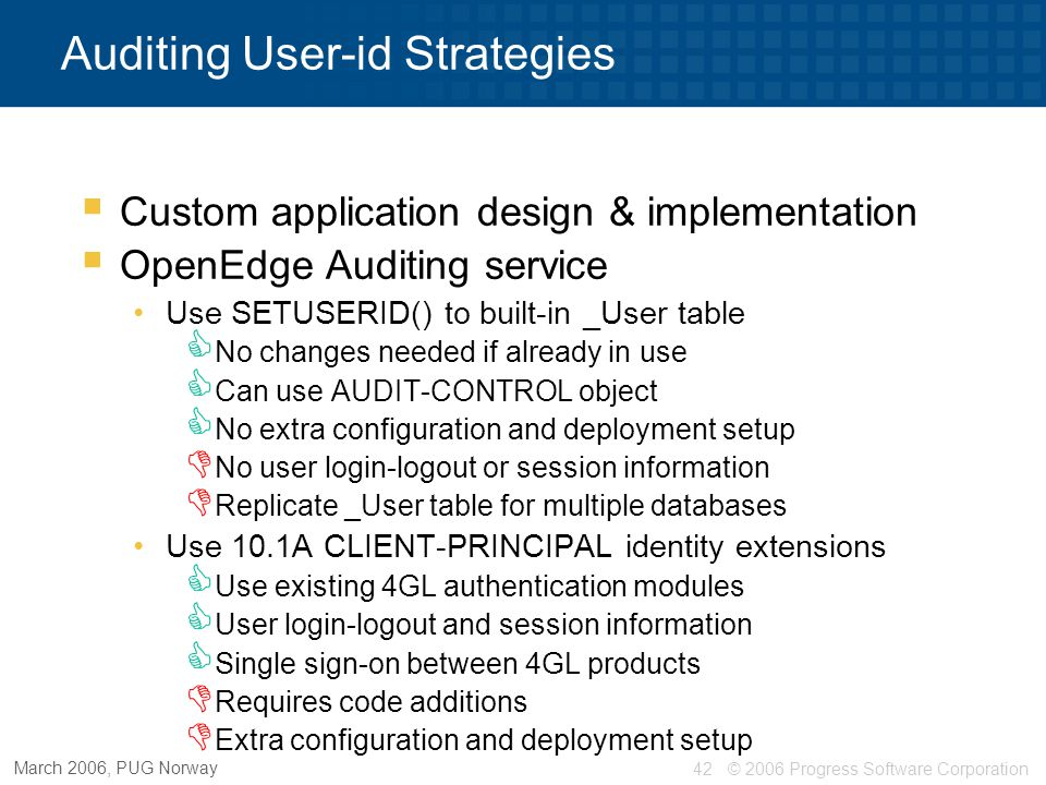 Auditing User-id Strategies