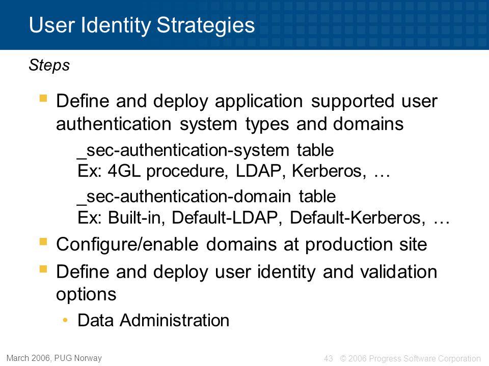 User Identity Strategies