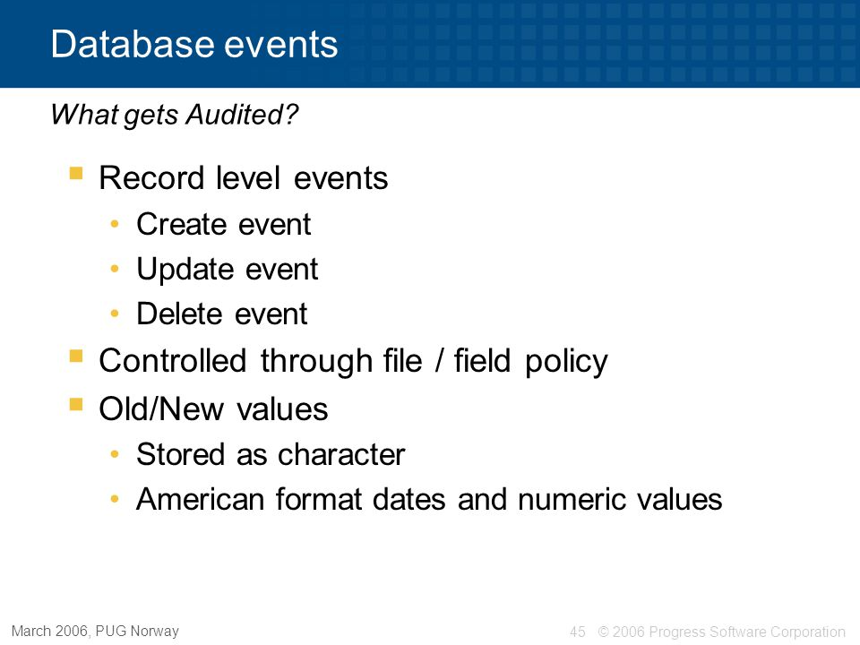 Database events Record level events