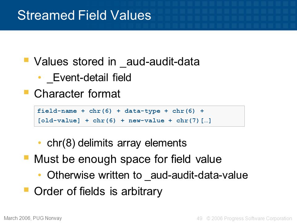 Streamed Field Values Values stored in _aud-audit-data