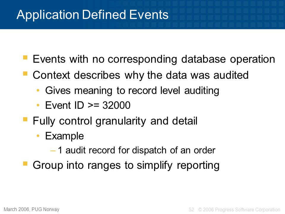 Application Defined Events
