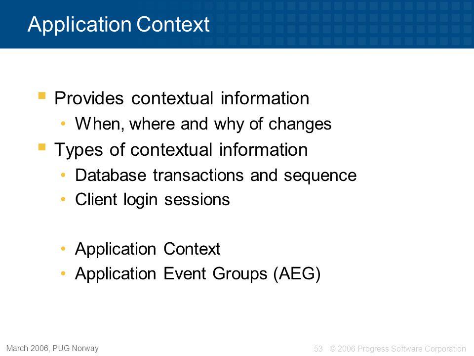 Application Context Provides contextual information