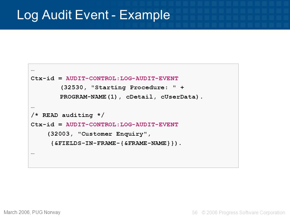 Log Audit Event - Example