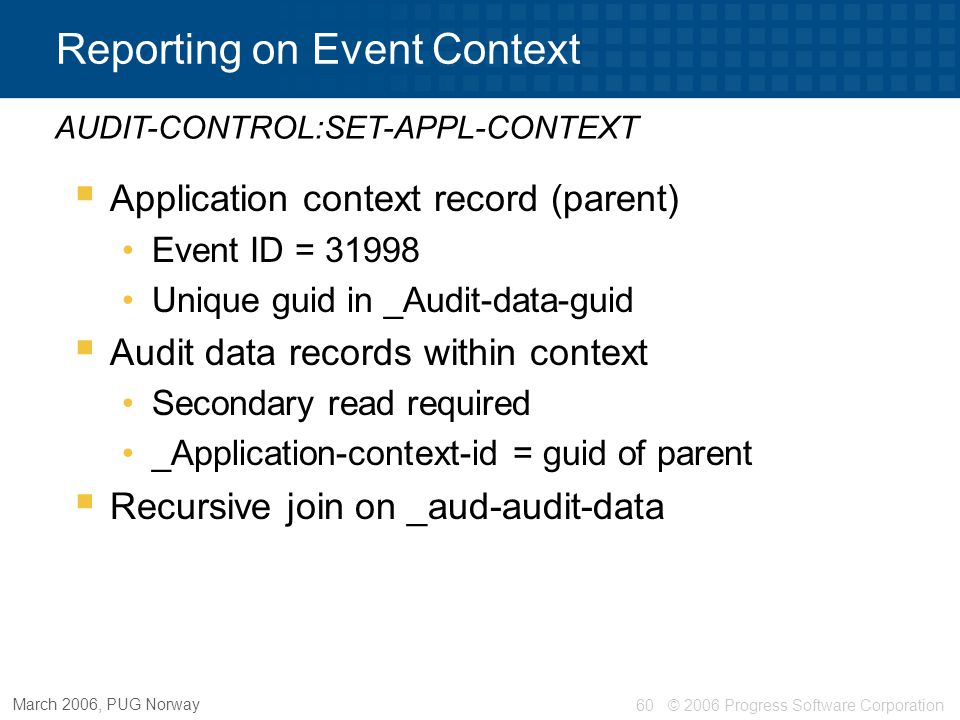 Reporting on Event Context
