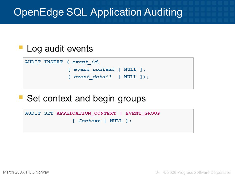 OpenEdge SQL Application Auditing