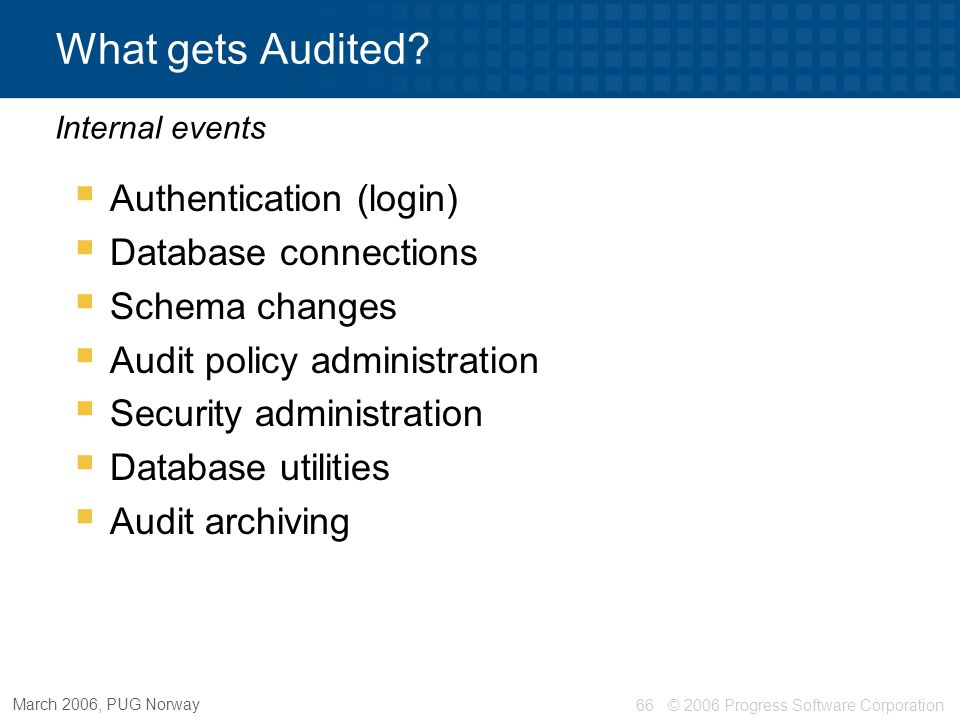 What gets Audited Authentication (login) Database connections