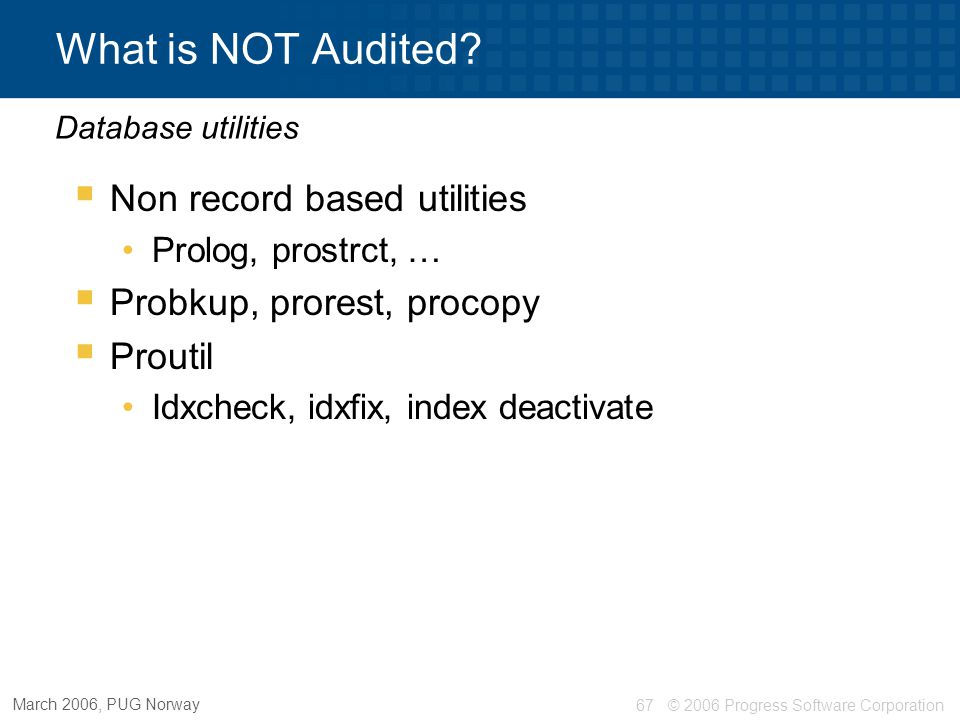 What is NOT Audited Non record based utilities