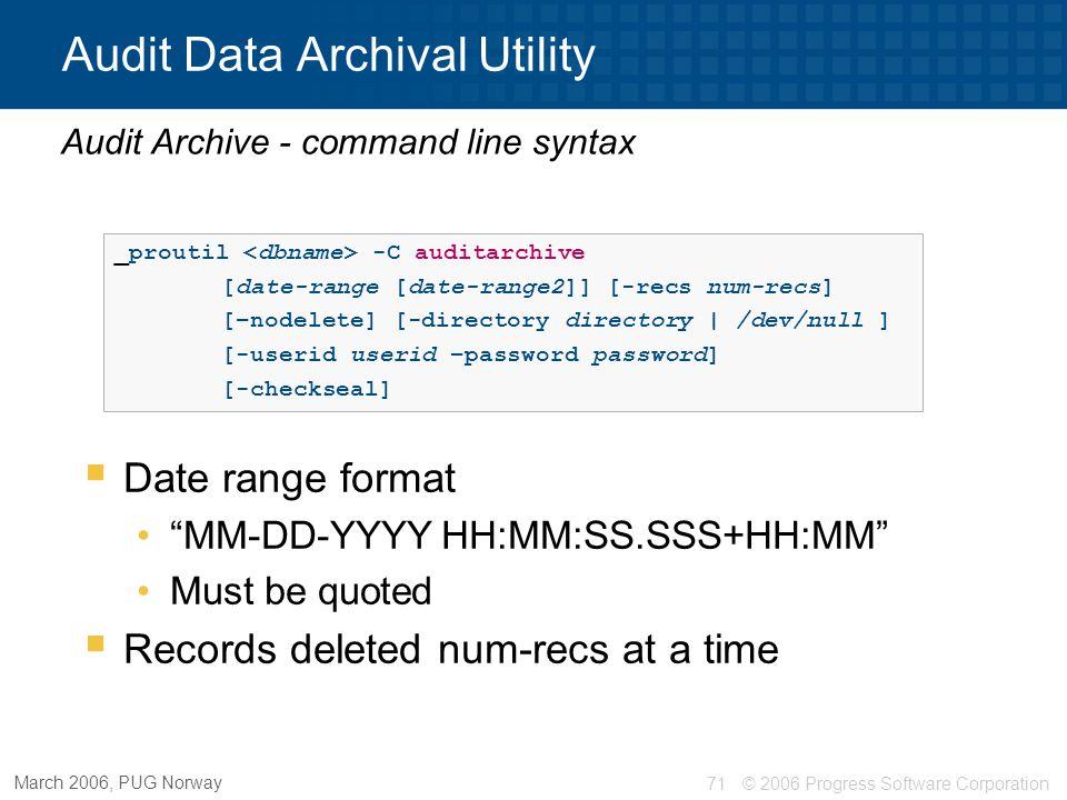 Audit Data Archival Utility