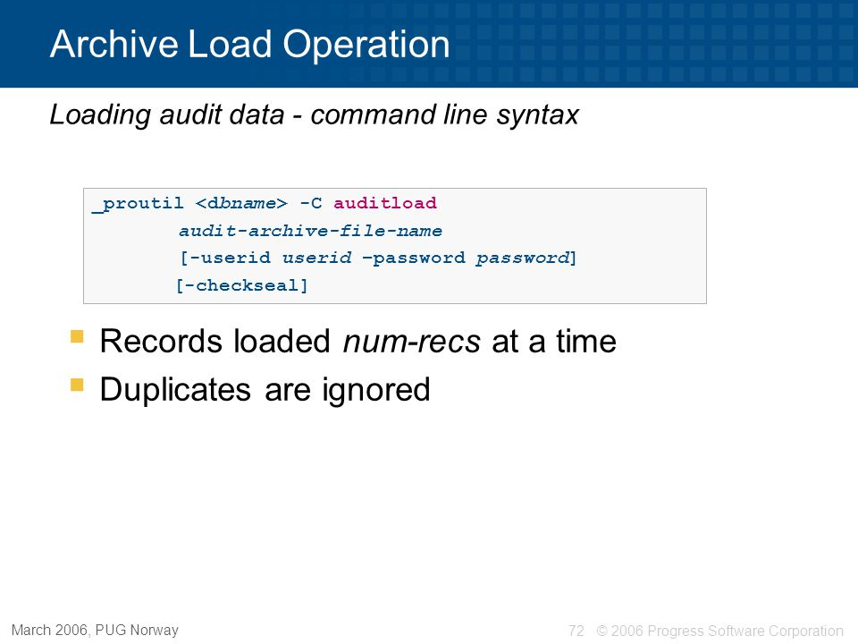Archive Load Operation