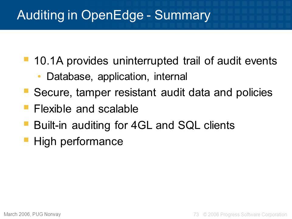 Auditing in OpenEdge - Summary