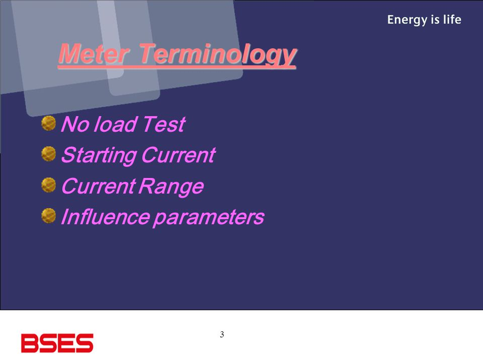 Meter Terminology No load Test Starting Current Current Range