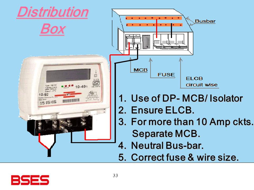 Distribution Box Use of DP- MCB/ Isolator Ensure ELCB.