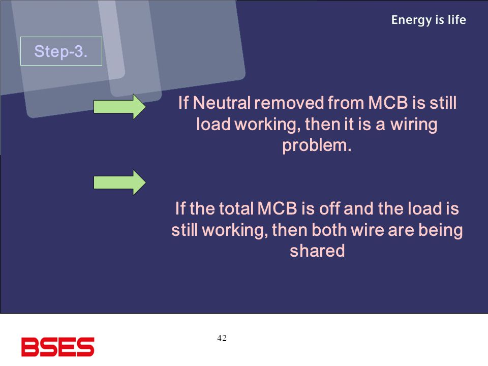 Step-3. If Neutral removed from MCB is still load working, then it is a wiring problem.