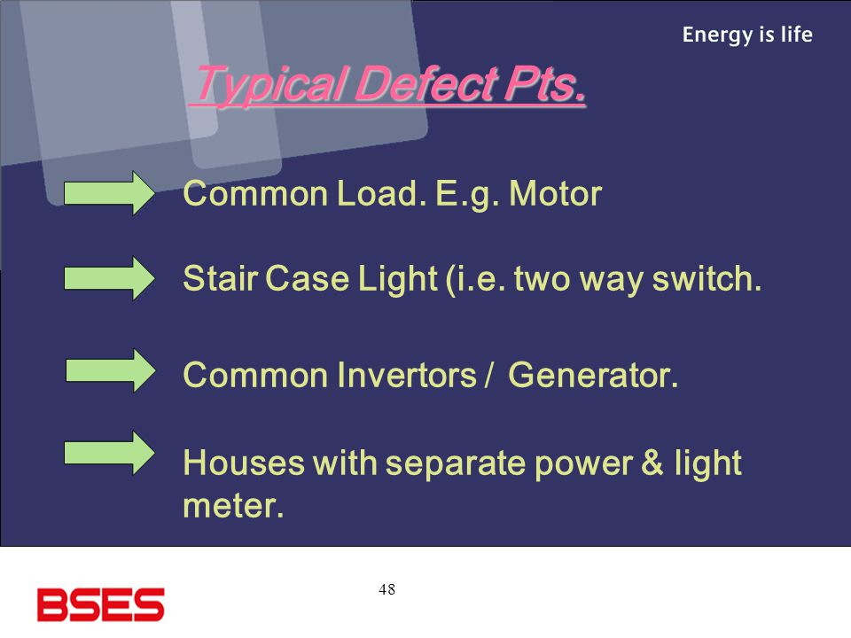 Typical Defect Pts. Common Load. E.g. Motor