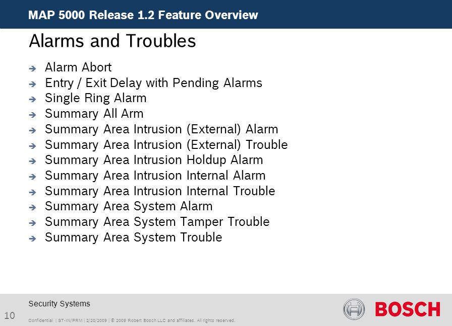 Alarms and Troubles Alarm Abort Entry / Exit Delay with Pending Alarms