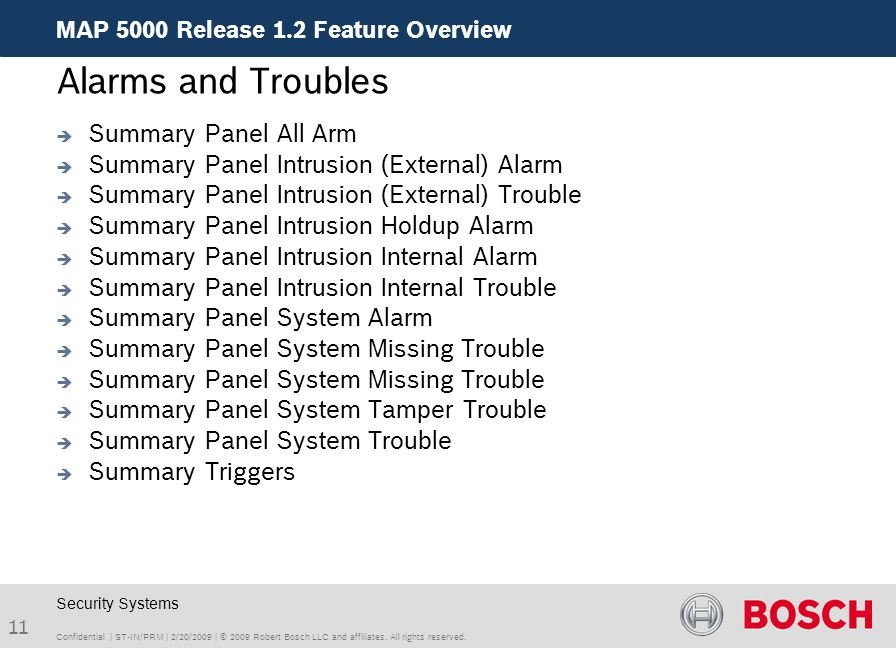 Alarms and Troubles Summary Panel All Arm